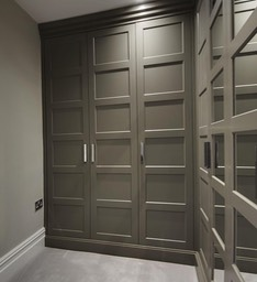 grey shaker wardrobes with mirrors